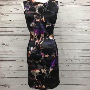 London Times Black & Floral Print Dress Size 16